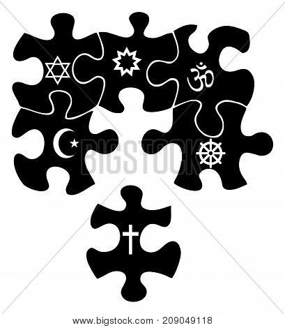 Black puzzle with white signs of religion