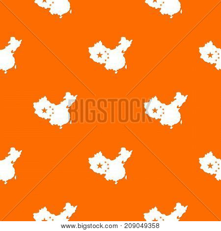 Map of China pattern repeat seamless in orange color for any design. Vector geometric illustration