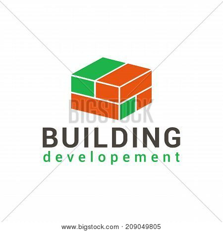 Vector logo template for real estate or building company. Illustration of a house made of four terracotta and green bricks. EPS10. Icon concept. Creative logotype for architecture company.