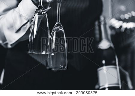 The Champagne Sommelier. Blak And White Image