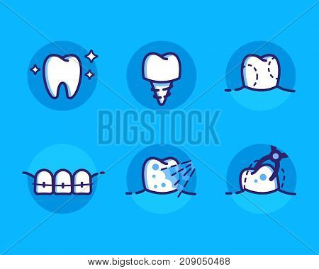 Health Dent Logo design vector template flat line style. Dental icons set teeths with different dental deseases. Cosmetic dental dentistry. Dental clinic Logotype concept icon. Health tooth poster or card.