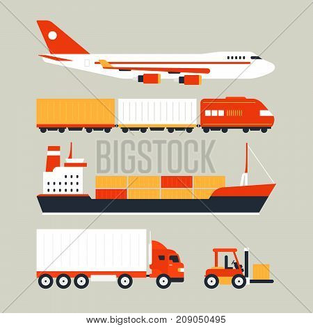 Cool delivery service concept with different transport objects: air ship sea car vehicle. Logistics in business and industry. Local supply chain. Merchant shipping vector illustration with big cargo delivery truck and ship.