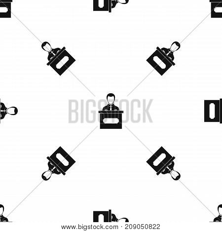 Businessman giving a presentation pattern repeat seamless in black color for any design. Vector geometric illustration