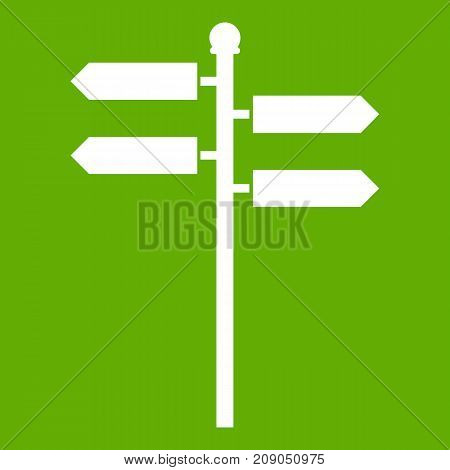 Street sign icon white isolated on green background. Vector illustration
