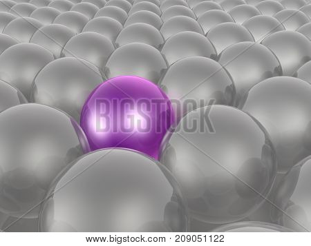 Violet and grey spheres as abstract background 3D illustration.