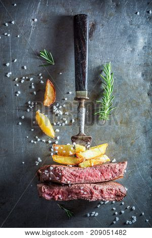 Homemade Red Steak And Chips With Herbs And Salt