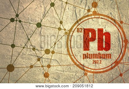 Plumbum chemical element. Sign with atomic number and atomic weight. Chemical element of periodic table. Molecule And Communication Background. Connected lines with dots. Distress grunge texture