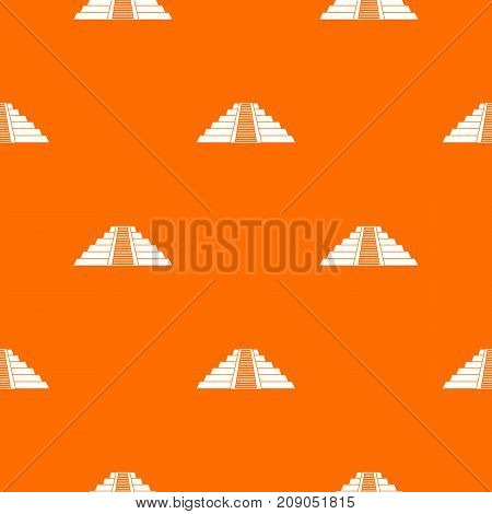 Ziggurat in Chichen Itza, Yucatan pattern repeat seamless in orange color for any design. Vector geometric illustration