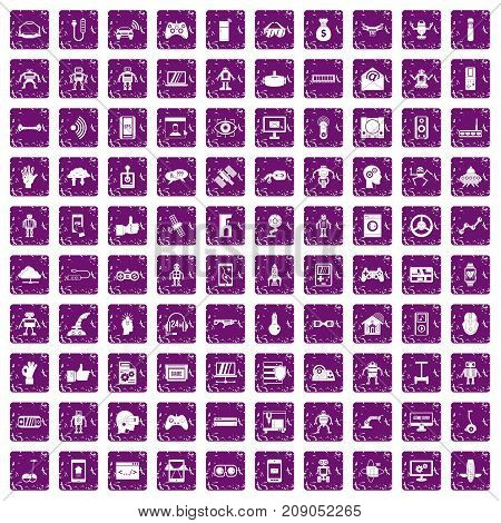 100 robot icons set in grunge style purple color isolated on white background vector illustration