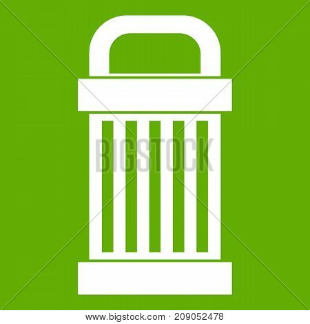 Trash icon white isolated on green background. Vector illustration