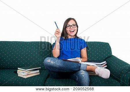 Student Girl Sitting On Couch Holding Pen Like Good Idea
