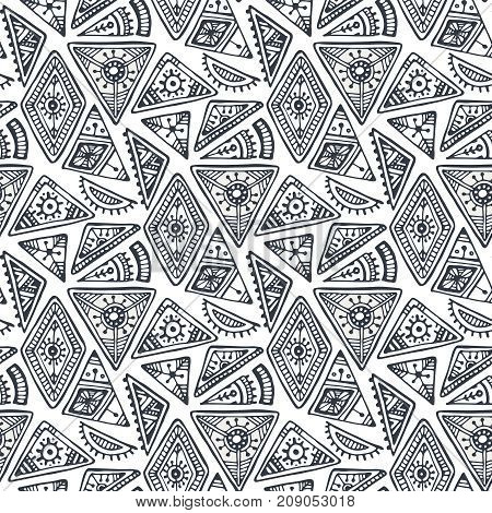 Black and white ethnic tribal seamless pattern with hand drawn elements. Vector aztec geometric print with triangles. Hipster endless background.