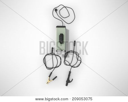 Inverter Welding Machine With Cable For Welding Electrodes With A Green Top 3D Render On A Gray Back