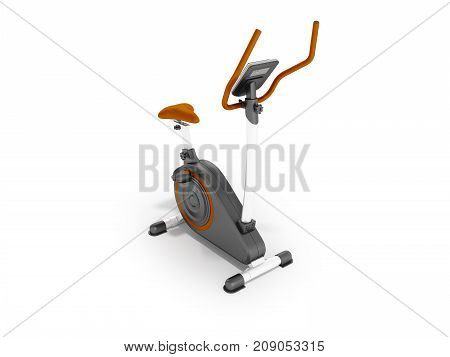 Modern Sports Exercise Bike With Electric Control Home Orange 3D Render On A White Background