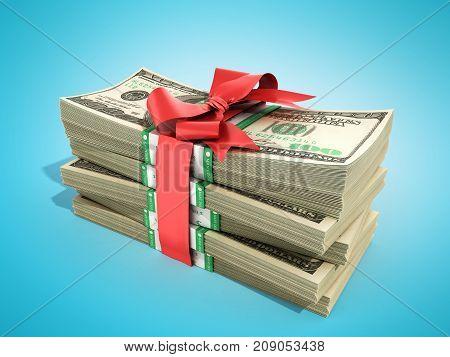 Concept Of Money Deposite Bonus Stack Of Dollar Bills Cash With Red Bow 3D Render On Blue