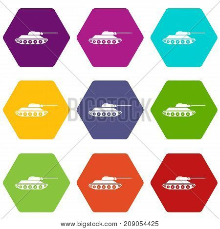 Tank icon set many color hexahedron isolated on white vector illustration