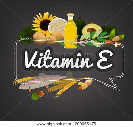 Vitamin E banner. Beautiful vector illustration with caption lettering and top foods highest in vitamin E. Useful for leaflet, brochure or poster design as a heading or other graphic element.