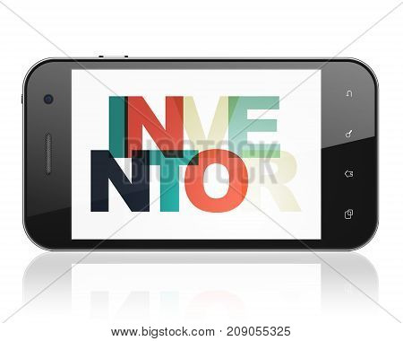 Science concept: Smartphone with Painted multicolor text Inventor on display, 3D rendering