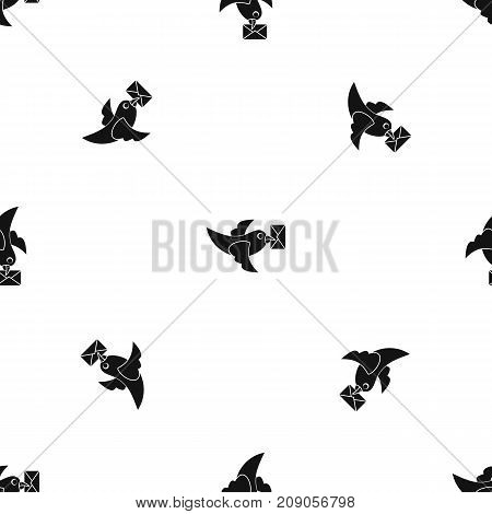 Pigeon fly with mail pattern repeat seamless in black color for any design. Vector geometric illustration