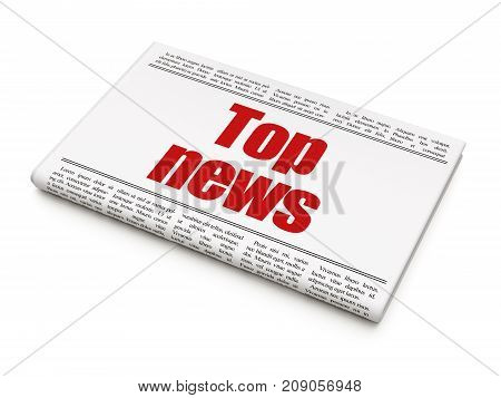 News concept: newspaper headline Top News on White background, 3D rendering