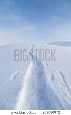 climbers trail in the snow as a background .