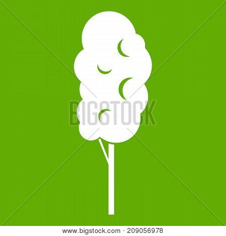Tall wood icon white isolated on green background. Vector illustration