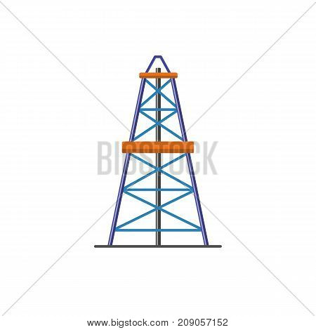 Oil derrick icon in flat style. Rig for exploration and oil production symbol isolated on white background.