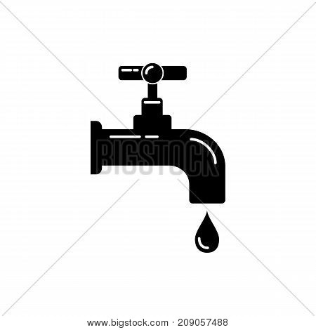 Water tap silhouette icon in flat style. Leaking faucet with liquid drop. Water economy symbol isolated on white background.
