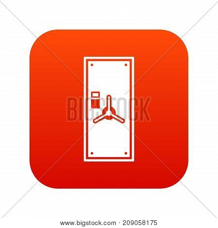Safe door icon digital red for any design isolated on white vector illustration