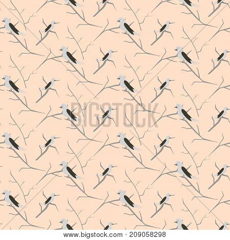 Birds on branches light pink cute pattern seamless vector. Simple pastel colored nestlings on trees for print on fabric.