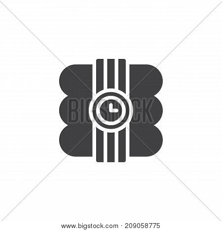 Dynamite with stopwatch icon vector, filled flat sign, solid pictogram isolated on white. Explosive bomb symbol, logo illustration.