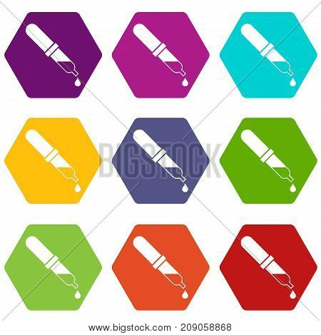 Pipette icon set many color hexahedron isolated on white vector illustration