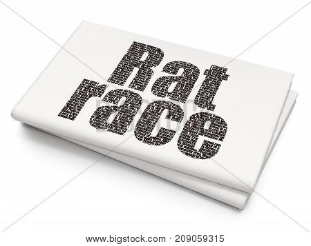 Political concept: Pixelated black text Rat Race on Blank Newspaper background, 3D rendering