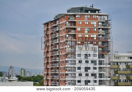 Construction site and new unfinished building in Skopje