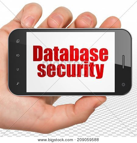 Database concept: Hand Holding Smartphone with red text Database Security on display, 3D rendering