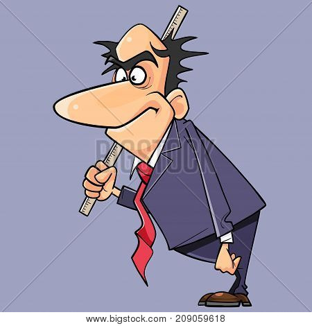 cartoon man in a suit and tie is standing with a ruler in his hand