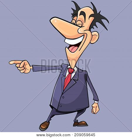 cartoon man in a suit and tie scoffs pointing his finger