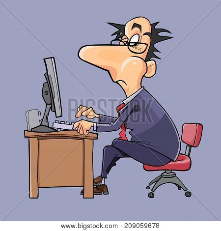 cartoon man in suit and tie working at computer