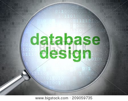 Database concept: magnifying optical glass with words Database Design on digital background, 3D rendering