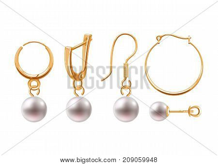 Realistic earrings icons set. Golden jewelry. Stud hoop drop dangle earrings designs.