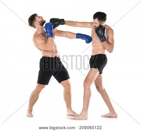 Male boxers fighting on white background