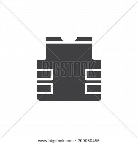 Bulletproof vest icon vector, filled flat sign, solid pictogram isolated on white. Flak jacket symbol, logo illustration. poster