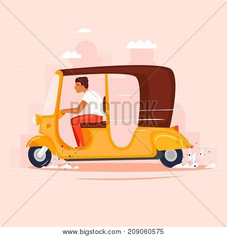 Rickshaw. Moped, taxi. Flat design vector illustration.