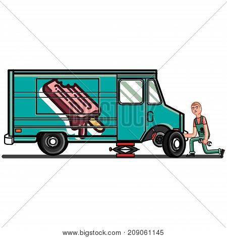 Man changes the tire. Vector illustration, EPS 10