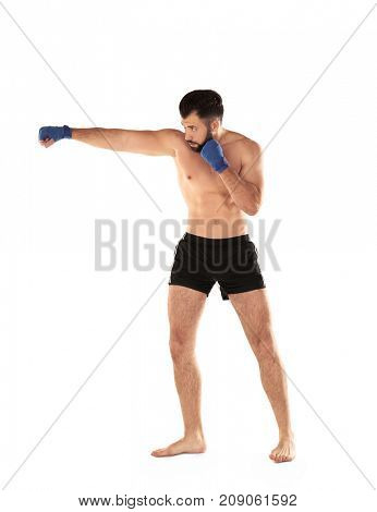 Male boxer on white background