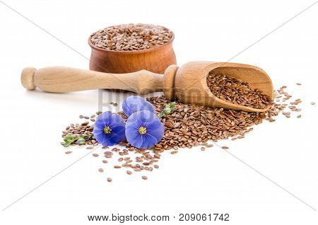 Flax Seeds In The Wooden Bowl, Wooden Scoop And Beauty Flowers Isolated On White Background. Phytoth