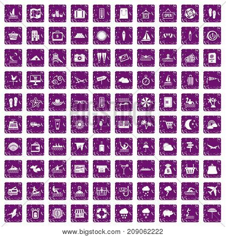 100 seaside resort icons set in grunge style purple color isolated on white background vector illustration