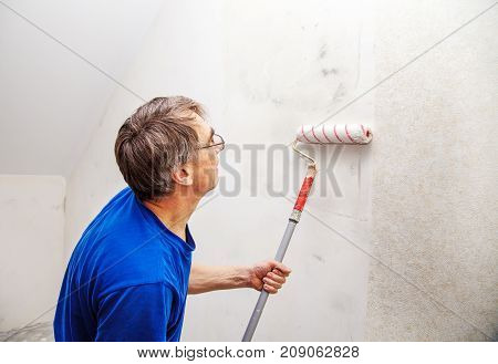elderly worker painting wall with background glue for a wallpaper in his house