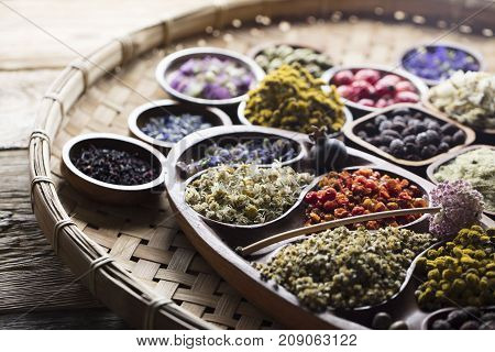 Natural medicine concept. Natural remedy, healing herbs background.