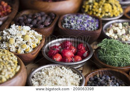 Natural medicine.  Wooden table. Herbs, berries and flowers in bowls.